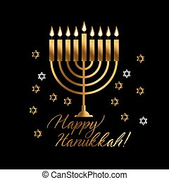 Jewish holiday Hanukkah with gold menorah (traditional...