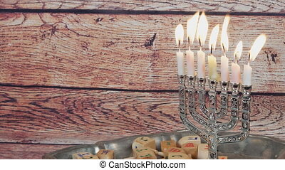 Jewish holiday Hanukkah with menora