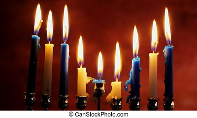 jewish holiday Hanukkah with menorah n table Hanukkah...
