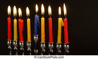 jewish holiday Hanukkah with menorah traditional Candelabra and wooden dreidels