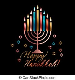 Jewish holiday Hanukkah with traditional menorah with color...