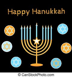 Jewish Holiday. Happy Hanukkah card design. Vector illustration