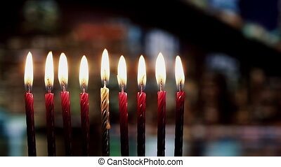 Brightly Glowing Hanukkah Menorah - Shallow Depth of Field -...