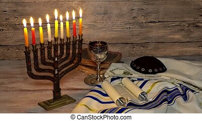 Jewish holiday, Holiday symbol Hanukkah Brightly Glowing...