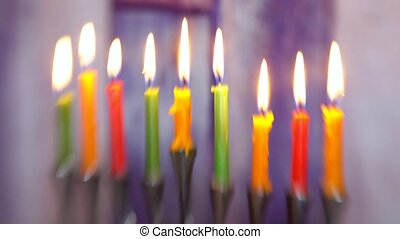 Brightly Glowing Hanukkah Menorah soft focus Selective soft...