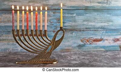 Brightly Glowing Hanukkah Menorah