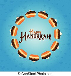 Jewish holiday of Hanukkah, greeting card