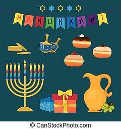 Jewish holiday of Hanukkah, symbols set