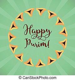 Jewish holiday of Purim, greeting card
