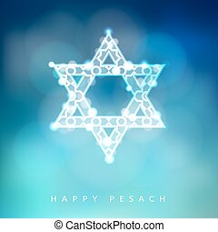 Jewish holiday Passover greeting card with ornamental glittering jewish star, vector illustration