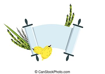 Jewish holiday Sukkot. torah with Lulav, ,Etrog, Arava and Hadas. Four species symbols date palm, citron, willow, myrtle