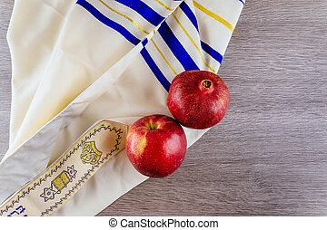 Jewish holiday Tallit apples and pomegranate Rosh Hashana...