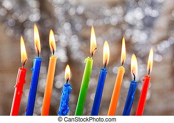 Jewish holiday Tallit Lighting Hanukkah Candles celebration...