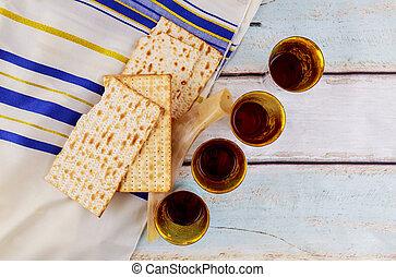 Jewish holiday Wine and matzoh - elements of jewish passover...