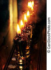 Jewish Holidays Hanukkah - Candles on a menorah for the...