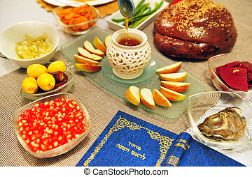 Jewish Holidays - Rosh Hashanah - Table set for the new...
