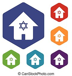Jewish house hexagon icon set