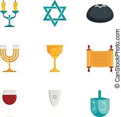 Jewish icon set, flat style - Jewish icon set. Flat set of 9...