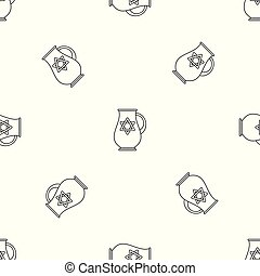 Jewish jug pattern seamless vector repeat geometric for any...