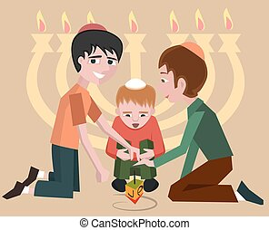 jewish kids with spinning top, hanukkah symbol - vector...