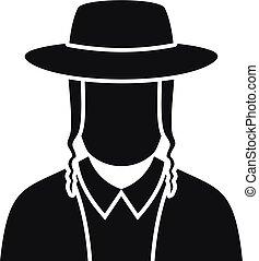 Jewish man face icon, simple style
