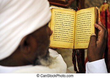 Jewish Man Praying - An Israeli Jewish orthodox Ethiopian...