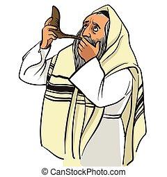 Rosh hashana card - Jewish New Year. Jewish man praying and blow the shofar. vector illustration