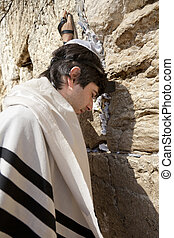 Jewish Man Praying at the Western Wall
