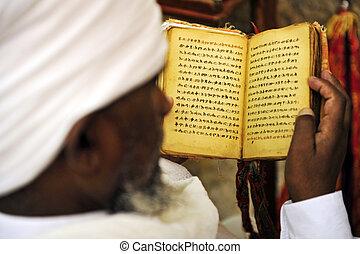 Jewish Man Praying - An Israeli Jewish orthodox Ethiopian...
