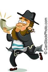 Jewish man with shofar - orthodox Jewish man with the...