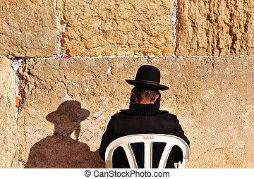 Jewish Men Pray Wailing Wall