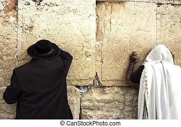 Jewish Men Pray Wailing Wall - Jewish orthodox men pray at...