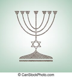 Jewish Menorah candlestick in black silhouette. Vector. Brown flax icon on green background with light spot at the center.