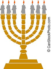 Jewish Menorah candlestick vector illustration
