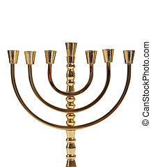 A Jewish menorah on a white background