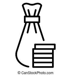 Jewish money bag icon, outline style