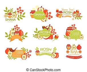 Jewish New Year Bright Postcard Labels Set