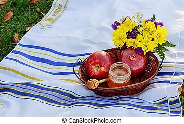 Jewish new year. Rosh Hashana apples, honey pomegranates...