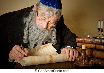 Jewish parchment - Old jewish man with beard writing on a...