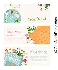 Jewish Passover holiday, Pesah celebration concept. Jewish banner with Haggadah book, Matzo and Seder plate. Vector holiday banners with spring flowers. Haggadah in Hebrew written on the book