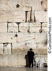 Jewish praying at the wailing wall, Western Wall, Kotel