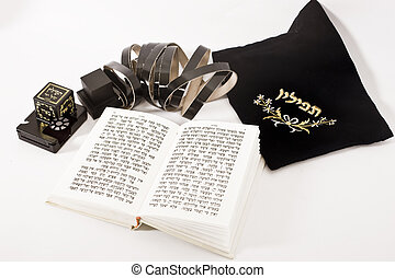 jewish praying elements on isolated background
