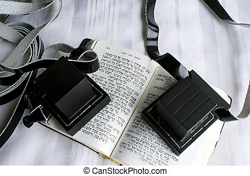 Jewish praying Items - A set of tefillin includes the arm-...