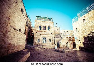 Jewish Quarter Streets on Jerusalem Old City.