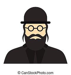Jewish rabbi icon, flat style