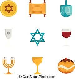 Jewish religion icon set, flat style - Jewish religion icon...