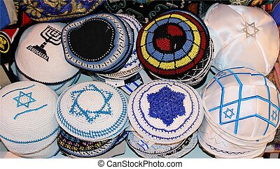 jewish religious caps on the market in Jerusalem, Israel