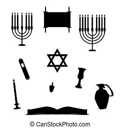 Jewish Religious Objects Silhouettes