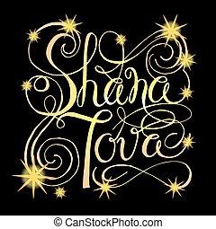 (jewish, rosh, desenhado, mão, hashanah, year), assinatura, novo