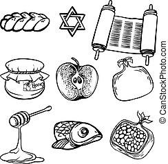 (jewish, rosh, illustrazione, simboli, hashanah, vettore, ...